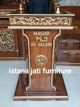 Mimbar bahan kayu jati masjid musholla