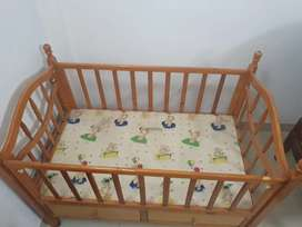 Baby Cot full size with wheels , full wood soft.