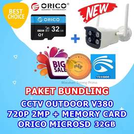 CCTV OUTDOOR V380 720P 2MP + MEMORY CARD ORICO MICROSD 32GB HEMAT