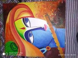 Canvas Drawing of Sri Krishna