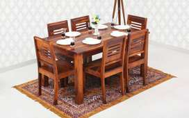 Sheesham Wood 6 Seater Dining Table Set with Chairs for Living Room