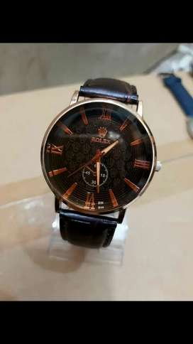 Rolex leather strap watch for men