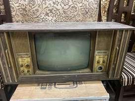 Antique black and white shutter TV
