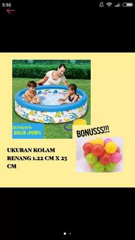 Kolam renang anak Bestway uk 1.22 m x 25 cm plus pompa & bola warna 25