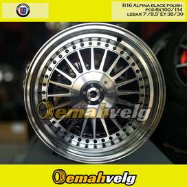 JUAL VELG MOBIL KREDIT DP 10% R16 Alpina black polish (FUTURA,SMART)