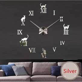 Jam Dinding Besar DIY Giant Clock Model Kucing Lucu (DIY-203) - Silver