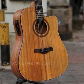 Gitar Akustik elektrik Top mahogani