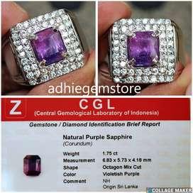 Promo Batu cincin natural asli purple sapphire NH srilanka 1.75ct