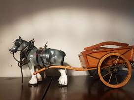 Imported solid wood 2 feet long horse cart with porcelain 1 feet horse