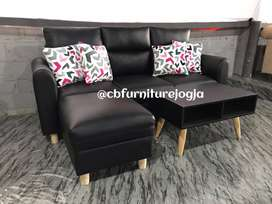 Sofa L Puff + Meja .,Harga PROMO
