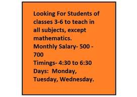 Teaching for classes 3-6 all subjects except mathematics