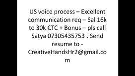 US voice process - Excellent communication req - Sal 16k to 30k ctc