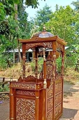 Mimbar masjid kubah full kayu jati