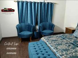 Very Beautiful full Bed set with 2 bedroom chairs + ottoman storage