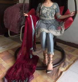 Grey nd red combination dres