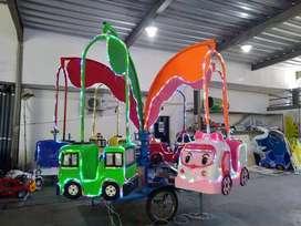 komedi putar safari kereta odong komplit gerobak full lampu hias 11