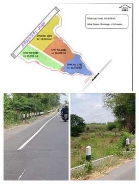 Lahan industri 6,5 Ha Kering muka 310m Jl.Raya Solo Jogja 1,5jt/m2