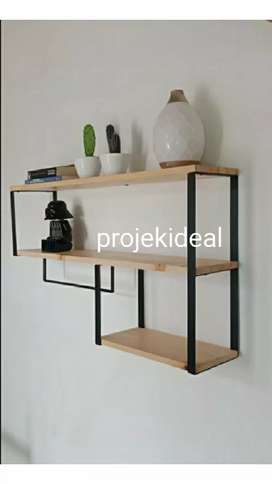 Rak dinding minimalis , rak dapur, rak display kayu jati belanda pinus