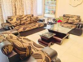 Brown and black 7-seater Sofa