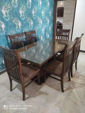 Six seater dining table and center table for sale