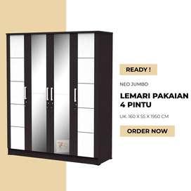 Lemari Pakaian 4 Pintu - Lemari Baju Jumbo - Medan