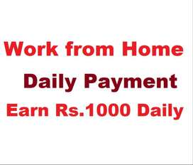 Work from Home - Earn Rs.1000 daily from Home