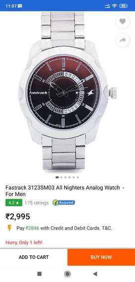 FASTTRACK SEAL PACK WATCH MODEL 3123SM03 BILL DATE 20 Jan 2021.