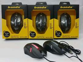 Mouse Optik USB Gaming BANDA B 400 Lampu LED