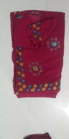 Hend work saree