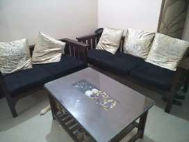 Attractive look.Beautiful Teak Wood sofaset with 5 Cushions..Less used