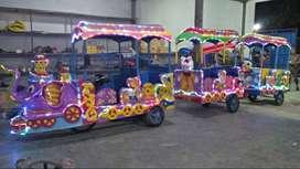 kereta motor gajah odong 3 gerbong lampu hias full kelap kelip cantik