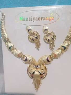 Gold coated Necklace with ear rings