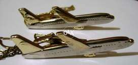 Tie Clip Two Tone Silver / Gold Airplane Shape