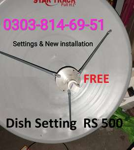 Dish Antenna HD+SD New Services Connection Dish setting / Repairing