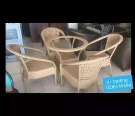mettalic garden chairset with woven binds