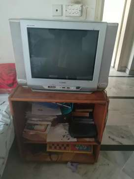Samsung television with wooden trolly