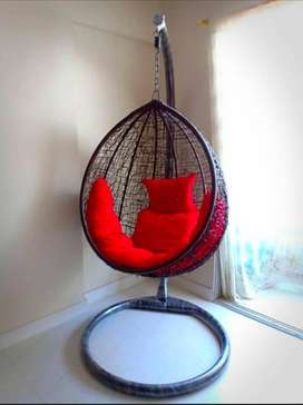 Egg Shaped Hanging Swing Chair With Stand & Cushions Set