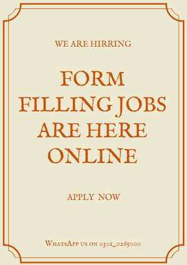 Form filling online jobs for part time job seekers to do from home