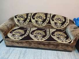 Sofa set 3+1+1=5 seater in excellent condition with new covers