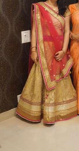 Zari gold and pink lehanga