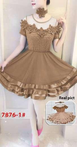 Dress Gaun Pesta 7876-1 coklat  Fit S, M dan L
