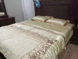 Original wood Bed without mattress, Dressing Table & Side Tables