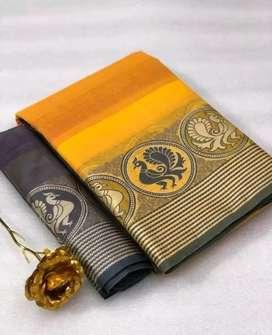 Woven Design Soft Cotton Sarees