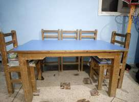 Wooden 6 chair with table