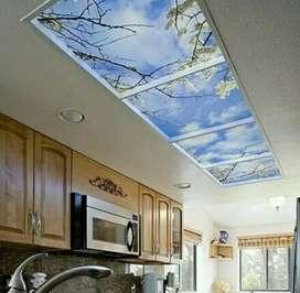 Wallpaper 3D Plafon Motif Awan