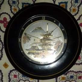 Jam dinding antik vintage ori jepang gambar pedesaan jepang dan gunung