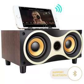 TOPROAD Portable Bluetooth Speaker Subwoofer FM Radio Wood Design