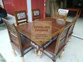 Meja makan kursi 6 kayu bakar/mahoni