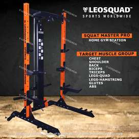 SQUAT MASTER PRO - SQUAT RACK WITH PULLEY - FOR HOME USE - LEOSQUAD