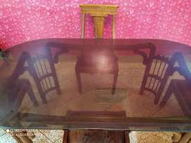 Teak Wood Dinning with 12 mm Thick Glass Top (Price Negotiable)